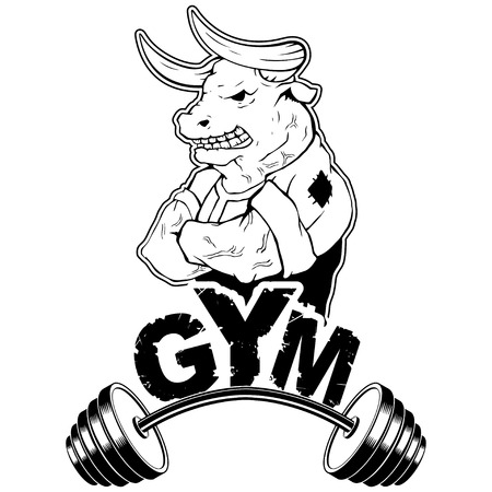 Vector design for a gym with an abstract image of a strong wild bull.