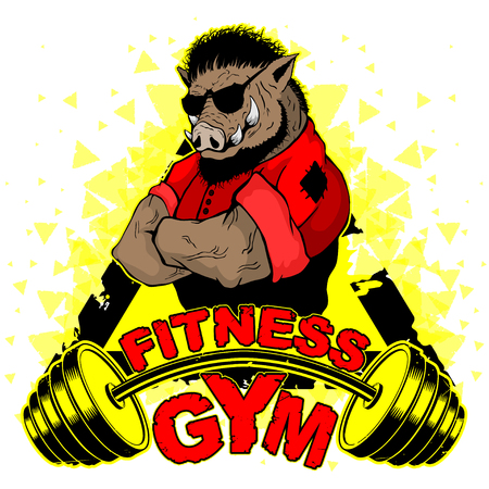 Vector design for a gym with an abstract image of a strong wild boar.
