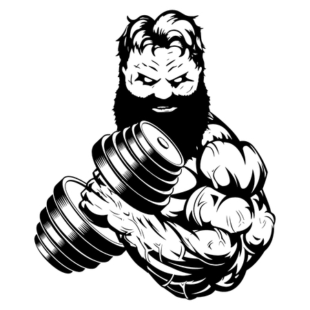 strongmen doing exercise with dumbbells for biceps Illustration