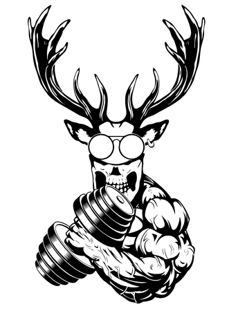 Strong deer the athlete performs the exercise for biceps with dumbbells Ilustrace