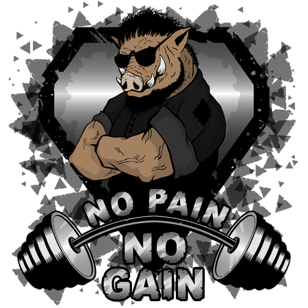 Vector illustration barbell and strong wild boar. No pain - no gain inspirational lettering. Иллюстрация