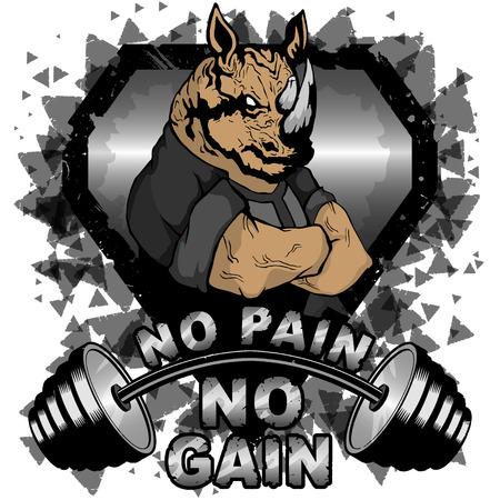 Vektorillustrationsbarbell und starkes Nashorn. Kein Schmerz - keine inspirierende Beschriftung.