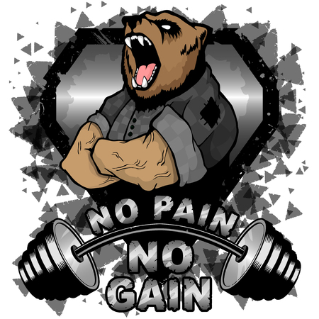Vektorillustrationshantel und starker Bär. Kein Schmerz - keine inspirierende Beschriftung.