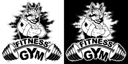 Vector design for a gym with an abstract image of a strong rhino.