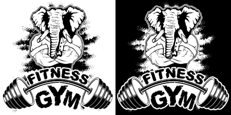 Vector design for a gym with an abstract image of a strong elephant.
