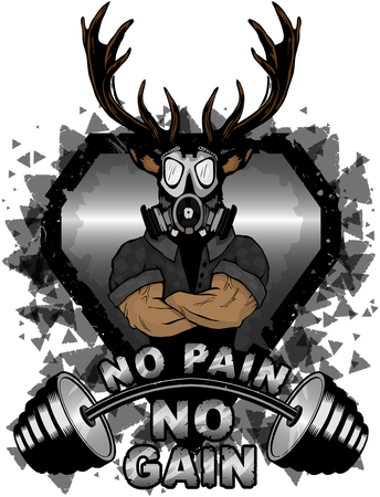 Vector illustration barbell and strong deer. No pain - no gain inspirational lettering.
