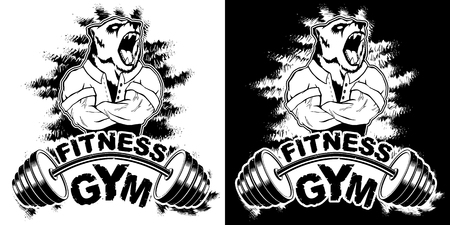 Vector design for a gym with an abstract image of a strong bear. Ilustração