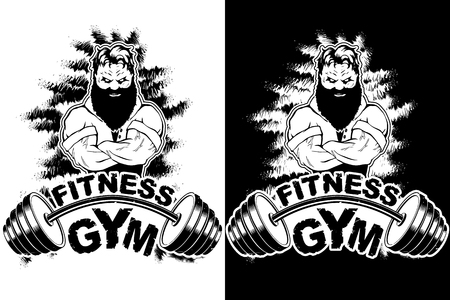 Vector design for a gym with an abstract image of a strong man. Ilustrace