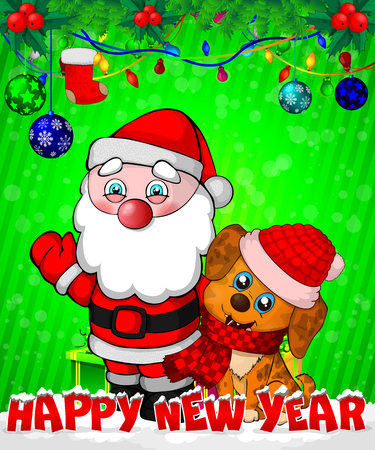 Cartoon Santa Claus and puppy with gift boxes on green background.