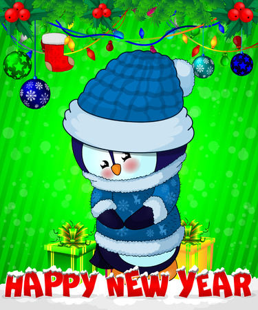 Cartoon cristmas penguin with gift boxes on green background. Illusztráció