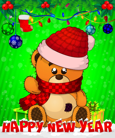 Cartoon cristmas teddy bear with gift boxes on green background.