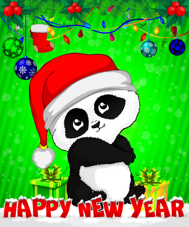 Cartoon panda with gift boxes on green background.