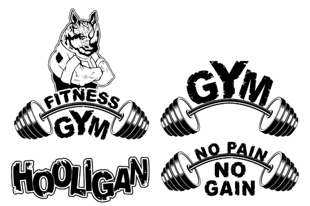 Vector set design for a gym with an abstract image of a strong rhino.