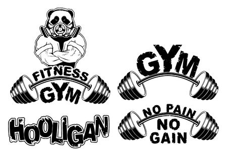 Vector set design for a gym with an abstract image of a strong panda.