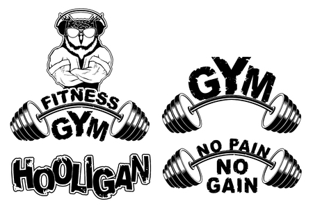 Vector set design for a gym with an abstract image of a strong owl. Illustration