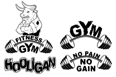 Vector set design for a gym with an abstract image of a strong bull. Ilustrace