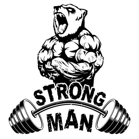 Vector illustration barbell and strong bear. Illusztráció