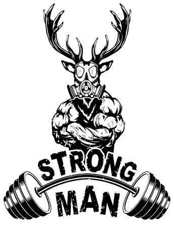 Vector illustration barbell and strong deer. Ilustrace