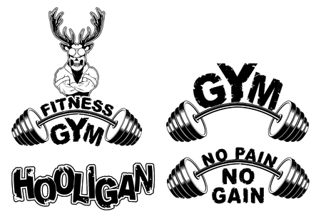 Vector set design for a gym with an abstract depiction of a strong deer. Ilustrace