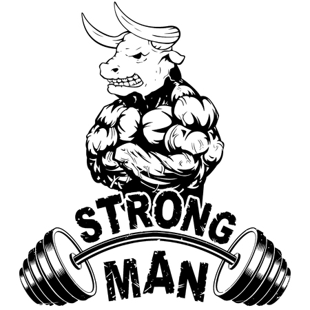 Vector illustration barbell and strong wild bull