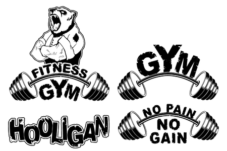 Vector set design for a gym with an abstract image of a strong bear. Ilustração