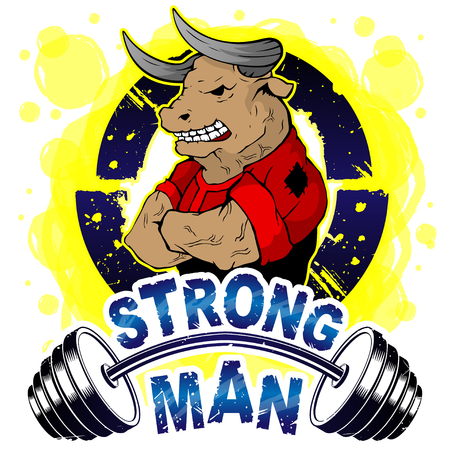Vector illustration barbell and strong wild bull. T-shirt print.