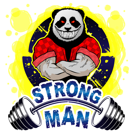 Vector illustration barbell and strong panda.  T-shirt print. Ilustração
