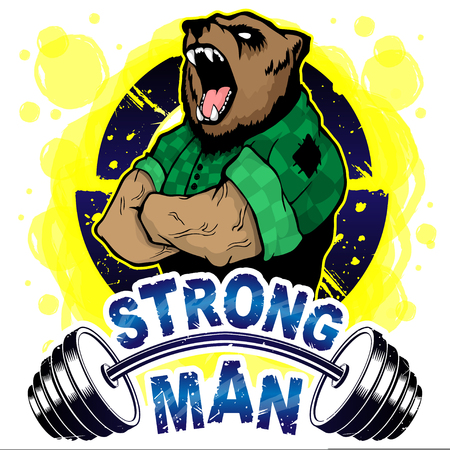 Vector illustration barbell and strong bear. T-shirt print.