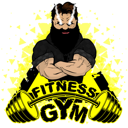 Vector design for a gym with an abstract image of a strong man. Illusztráció