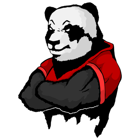 Isolated vector illustration a strong wild panda- man.