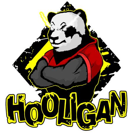 print on T-shirt hooligan with a panda image Ilustração