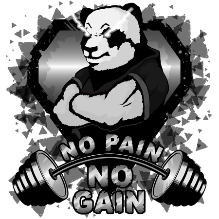 Vector illustration barbell and strong panda. No pain - no gain inspirational lettering.