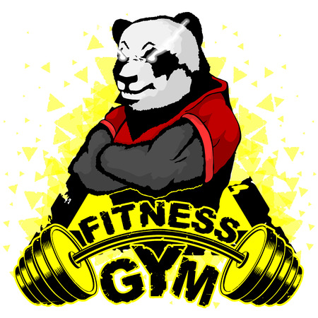 Vector design for a gym with an abstract image of a strong panda.