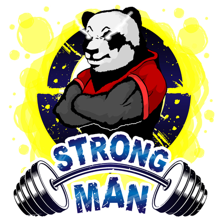 Vector illustration barbell and strong panda.