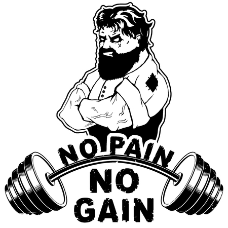 Vector illustration barbell and strong man. No pain - no gain inspirational lettering. Illusztráció