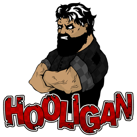 print on T-shirt hooligan with a strong man image