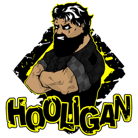 print on T-shirt hooligan with a strong man image. Vector illustration.