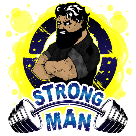 Vector illustration barbell and strong man. Stock fotó - 115838124