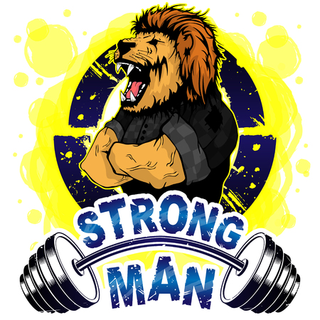 Vector illustration barbell and strong lion. Vettoriali