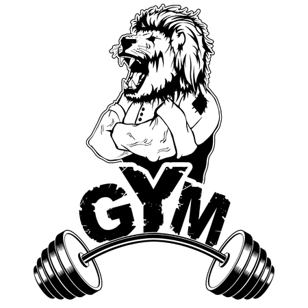 Vector design for a gym with an abstract image of a strong lion. Illusztráció
