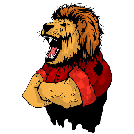 Isolated vector illustration a strong wild lion.
