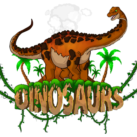 Logo  Dinosaurs World with Titanosaur. Vector illustration. Illusztráció