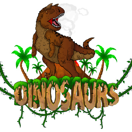 Logo  Dinosaurs World with Carnotaur. Vector illustration.