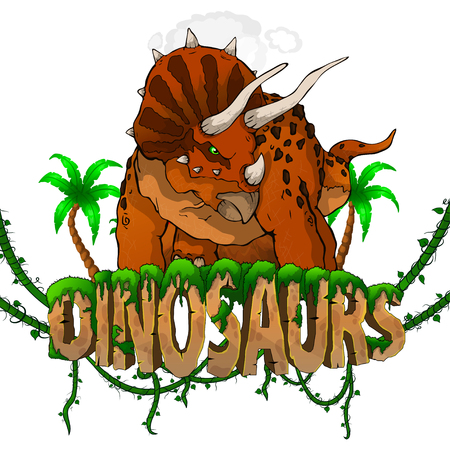 Logo  Dinosaurs World with Triceratops. Vector illustration. Stock fotó - 118917327