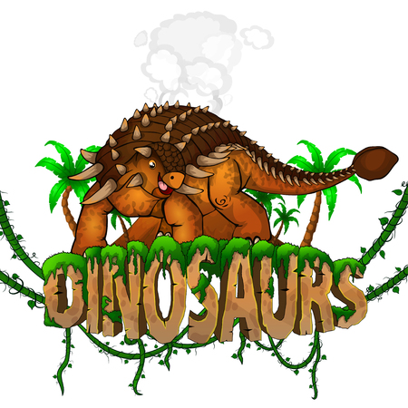 Logo  Dinosaurs World with Ankylosaurus. Vector illustration.