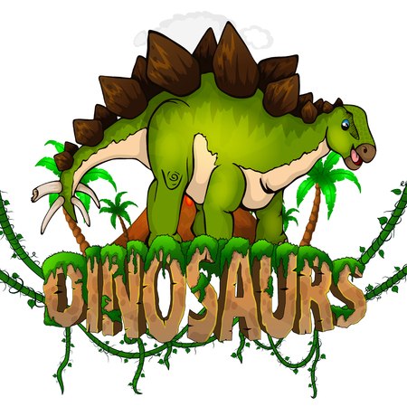 Logo  Dinosaurs World with Stegosaurus. Vector illustration. Illusztráció