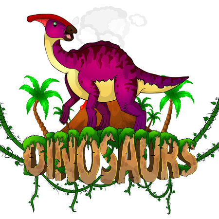 Logo  Dinosaurs World with Parasaurolophus. Vector illustration. Illusztráció