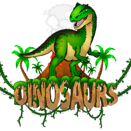 Logo  Dinosaurs World with Allosaurus. Vector illustration. Illusztráció