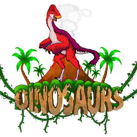 Logo  Dinosaurs World with Anzu Wylie. Vector illustration.
