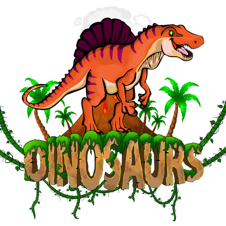 Logo  Dinosaurs World with Spinosaurus. Vector illustration.